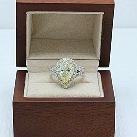 $54,000 Yellow Pear Shape Diamond Engagement Ring 6.32 TCW 14K White Gold