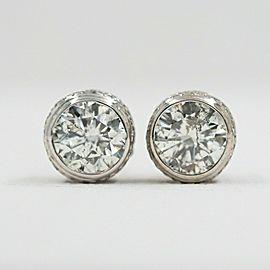 Round Diamond Bezel Set Earrings 5.87 ct in 14k White Gold $60,000 Retail