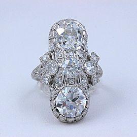 Circa 1930's Art Deco Old European Cuts Platinum Diamond Ring 4.52 tcw GIA Certs