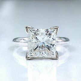 4.33 cts Princess Cut Diamond GSI2 Solitaire Diamond Engagement Ring Certificate
