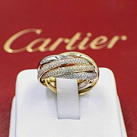 Cartier Six Row Trinity Diamond Wedding 6 Band Ring 18K White Gold Rose Gold