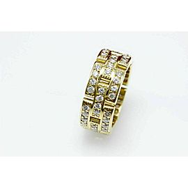 Cartier Maillon Panthere Diamond Eternity Wedding Band Ring 3 Row 18K Y Gold