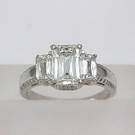 Christopher Designs Crisscut Three Stone Diamond Engagement Ring 3.25 tcw