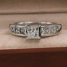 LEO Princess Diamond Engagement Ring 1.55 tcw 14k White Gold $6,000 Retail