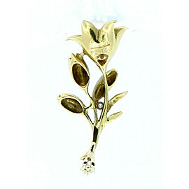 ESTATE 18K YELLOW GOLD LILY FLOWER DIAMOND PENDANT CHARM