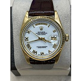 Rolex Day Date President 18038 White Roman Dial 18K Yellow Gold Leather Band