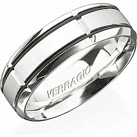 VERRAGIO Platinum In Gauge Men's Wedding Band Ring 10 MM size 10.75 RU7005