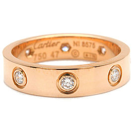 Authentic Cartier Mini Love Ring Full Diamond Rose Gold #47 US4 EU47.5 Used F/S
