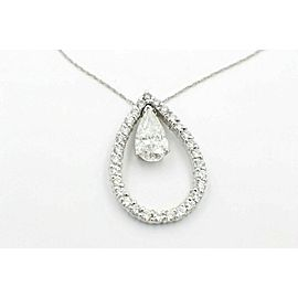 Pear Shape Diamond Pendant Necklace 14K White Gold 3.88 tcw