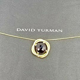 David Yurman 18k Yellow Gold Garnet Infinity Cushion Pendant Necklace
