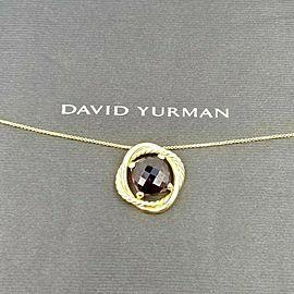 David Yurman 18k Yellow Gold Garnet Infinity Cushion Pendant Necklace