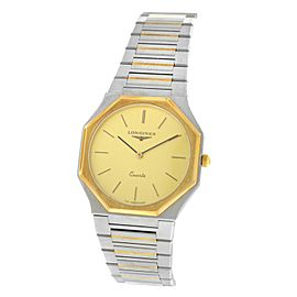 AS IS Unisex Longines Octagon Steel Yellow Gold Wave Bracelet Quartz 30mm Watch