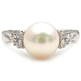 Authentic MIKIMOTO Pearl Diamond Ring Platinum PT950 US6 HK12.5 EU51.5 Used F/S