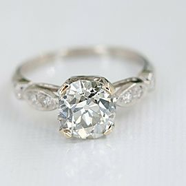 Old Cut Diamond 1.75 tcw in Platinum with Accent Diamonds
