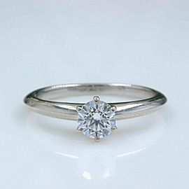 Tiffany & Co Platinum Diamond Engagement Ring Round 0.47ct D VS2 $5,500 Retail
