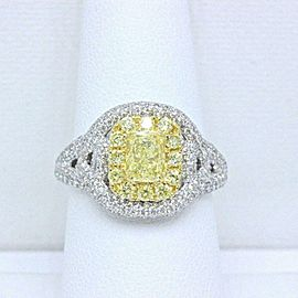 Fancy Intense Yellow Platinum Diamond Ring 2.33 ct $20K Retail