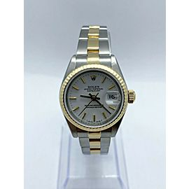 Rolex Ladies 69173 White Dial 18K Yellow Gold Stainless Steel