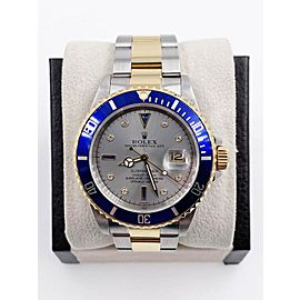 Rolex Submariner 16613 Slate Serti Dial 18K Yellow Gold Steel Box Papers
