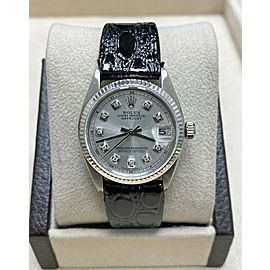 Rolex Midsize 31mm 6827 Diamond Dial Stainless Steel Leather Strap