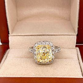 Antique Style Cushion 4.30 ctw Fancy Yellow VVS Diamond Ring 14K White Gold