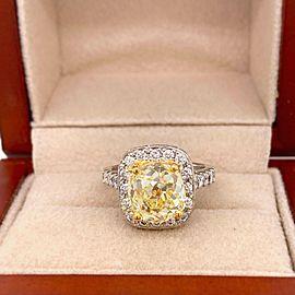 Antique Style Cushion 4.30 ctw Fancy Yellow VVS Diamond Ring 14K White Gold