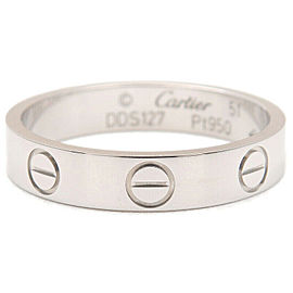 Authentic Cartier Mini Love Ring Platinum PT950 #51 US5.5 EU51 Used F/S