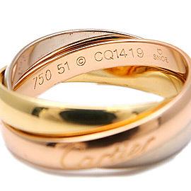 Auth Cartier Trinity Ring K18 750 YG/WG/PG #51 US5.5 HK12 EU51 Used F/S