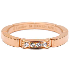 Auth Cartier maillon panthère Ring 4P Diamond Rose Gold #54 US7 EU54 Used F/S