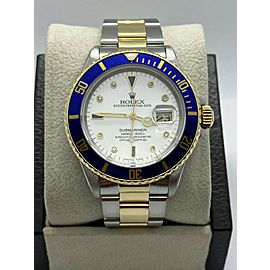 Rolex Submariner 16613 Diamond Sapphire Serti Dial 18K Yellow Gold Stainless