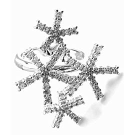 Authentic! Damiani Diamond Flower 18k White Gold Cocktail Ring