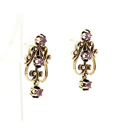14k Yellow Gold Ornate Ruby Dangling Earrings
