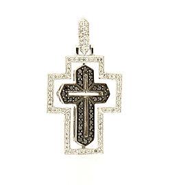14k White Gold Swivel White Black Diamond Cross 1.5ct