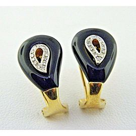Black Onyx & Diamond Earrings in Solid 18k Yellow Gold