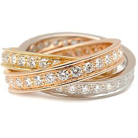 Authentic Cartier Trinity Ring Full Diamond YG/WG/PG #50 US4.5 EU48 Used F/S