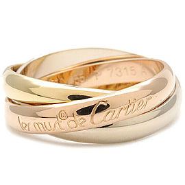 Authentic Cartier Trinity Ring K18 750 YG/WG/PG #55 US7 HK15.5 EU55 Used F/S