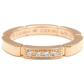 Auth Cartier maillon panthère Ring 4P Diamond Rose Gold #48 US4.5 Used F/S