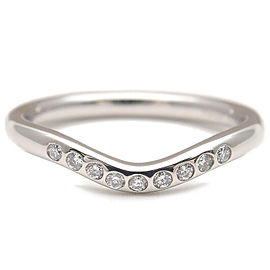 Auth Tiffany&Co. Curved Band Ring 9P Diamond Platinum US5 HK11 EU49.5 Used F/S
