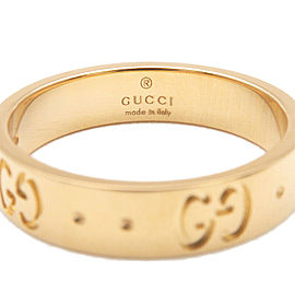 Authentic GUCCI ICON Ring K18YG 750 Yellow Gold #9 US5 HK10.5 EU49 Used F/S