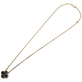 Auth Van Cleef & Arpels VCA Vintage Alhambra Necklace Yellow Gold Onyx Used F/S