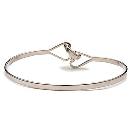 Authentic Tiffany&Co. Hook and Eye Heart Bangle Silver 925 Yellow Gold Used F/S