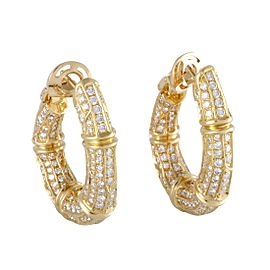 Cartier 18K Yellow Gold with 6.00ct Diamond Bamboo Hoop Earrings