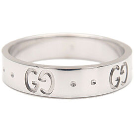 Authentic GUCCI ICON Ring K18WG 750 White Gold #9 US5 HK10.5 EU49 Used F/S