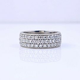 Three-Row Round Diamond Eternity Band Ring 2.04 tcw Platinum