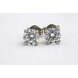 Leo Diamond Stud Earrings Rounds 0.98 tcw F-G SI 14K White Gold $5,000 Retail
