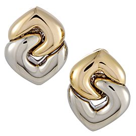 Bulgari Doppio Cuore 18K Yellow and White Gold Hearts Earrings