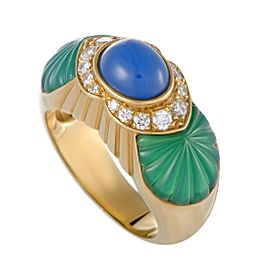 Cartier 18K Yellow Gold Diamond Green and Blue Jade Ring Size 5.5