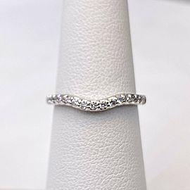 A. JAFFE Round Diamond Contour V Wedding Band Ring 18k White Gold 2 MM #2