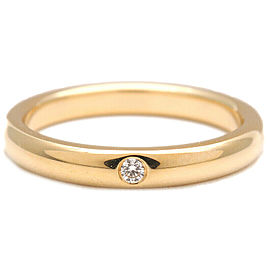 Authentic Tiffany&Co. Stacking Band Ring 1P Diamond Yellow Gold US6 Used F/S