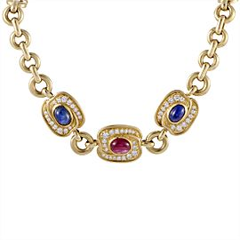 Van Cleef & Arpels 18K Yellow Gold 1.45ct Diamond, Sapphire and Ruby Pendant Necklace