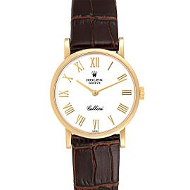Rolex Cellini Classic Yellow Gold Brown Strap Ladies Watch 5109